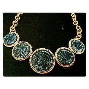 3/$30 Goldtone Statement Necklace Aqua Blue